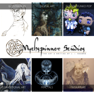 A selection of illustrations, sculpture, paintings, digital art, fractal creations by J. I. Rogers. Mythspinner Studios.